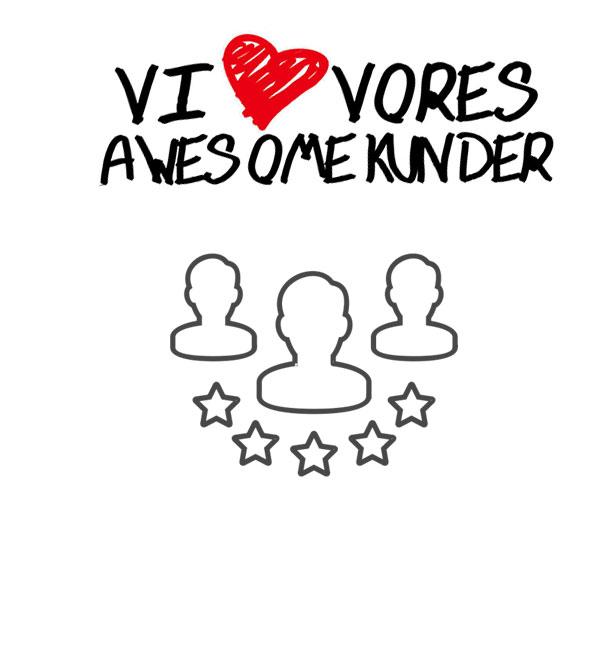v5.dk - hånd tegner et hjerte og skriver: Vi elsker vores awesome kunder med håndskrift
