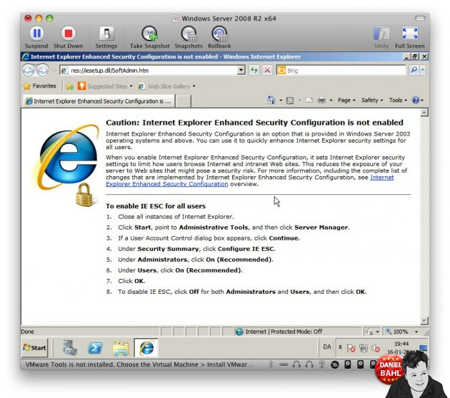 Et screenshot der viser Internet Explorer på Windows Server 2008 R2