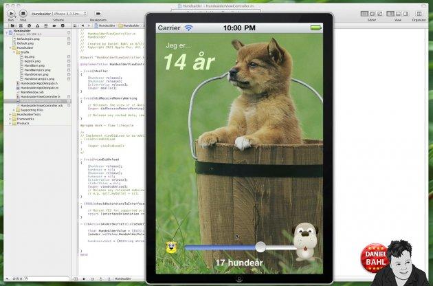 Source kode eksempel fra vores Hundealder iPhone app