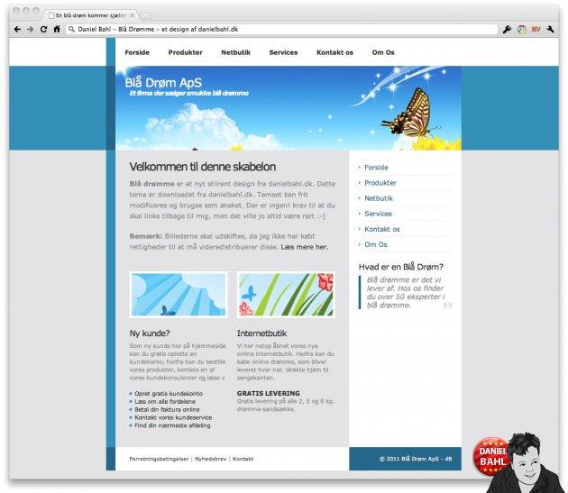 Blå Drømme - et gratis HTML-template skabelon design lavet i HTML og CSS af Daniel Bahl