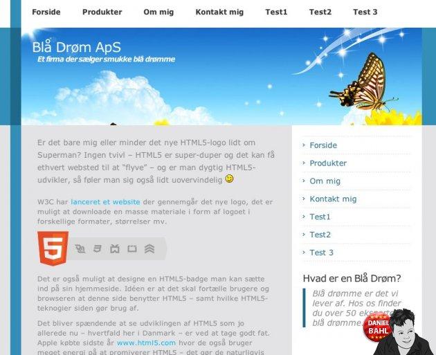 Screenshot af CMS-system - Frontend