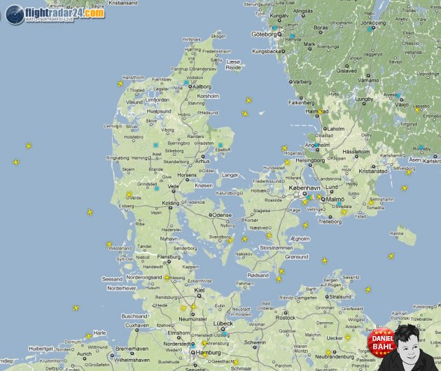 Live Fly Radar over Danmark på Google Maps