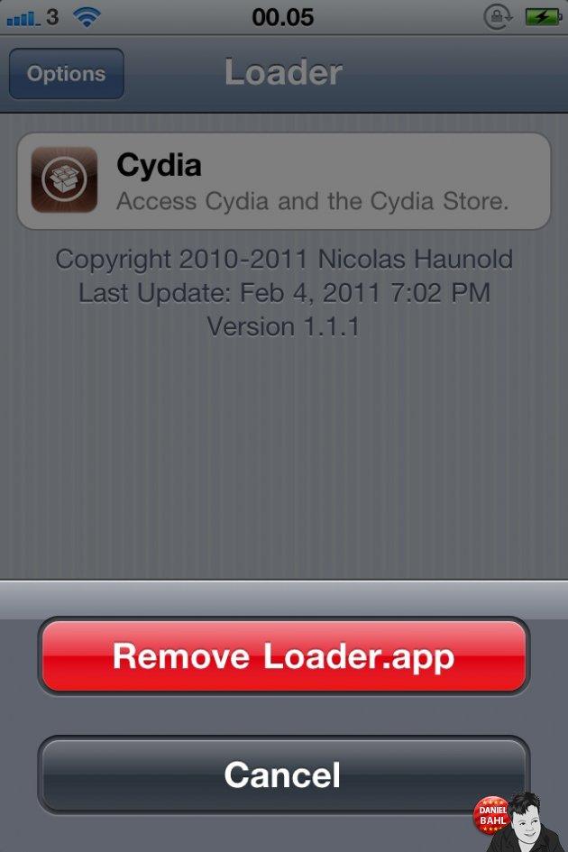 Remove Loader App efter jailbreak og cydia