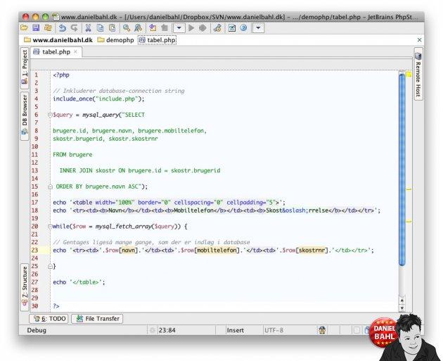 Daniel Bahl koder MySQL pg PHP5 - inner join