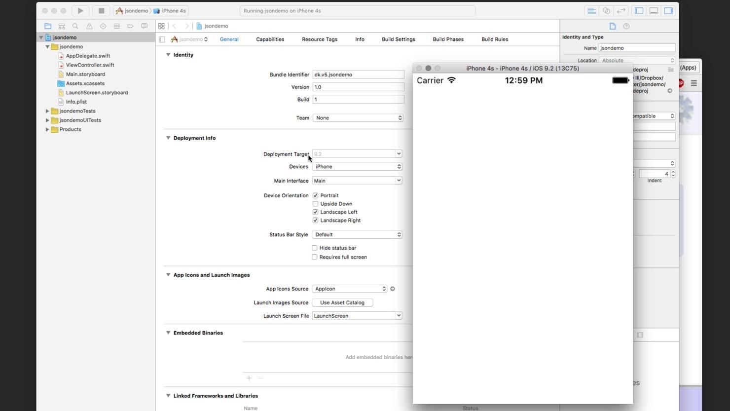 Oprettelse af nyt projekt i Xcode 7
