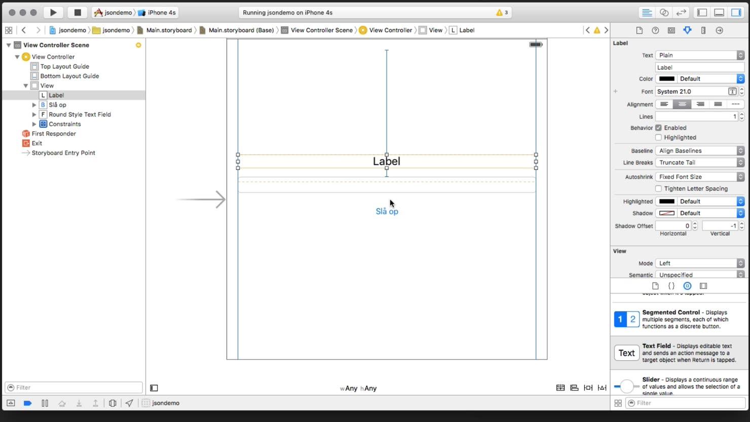 Opbygning af UI i vores Storyboard