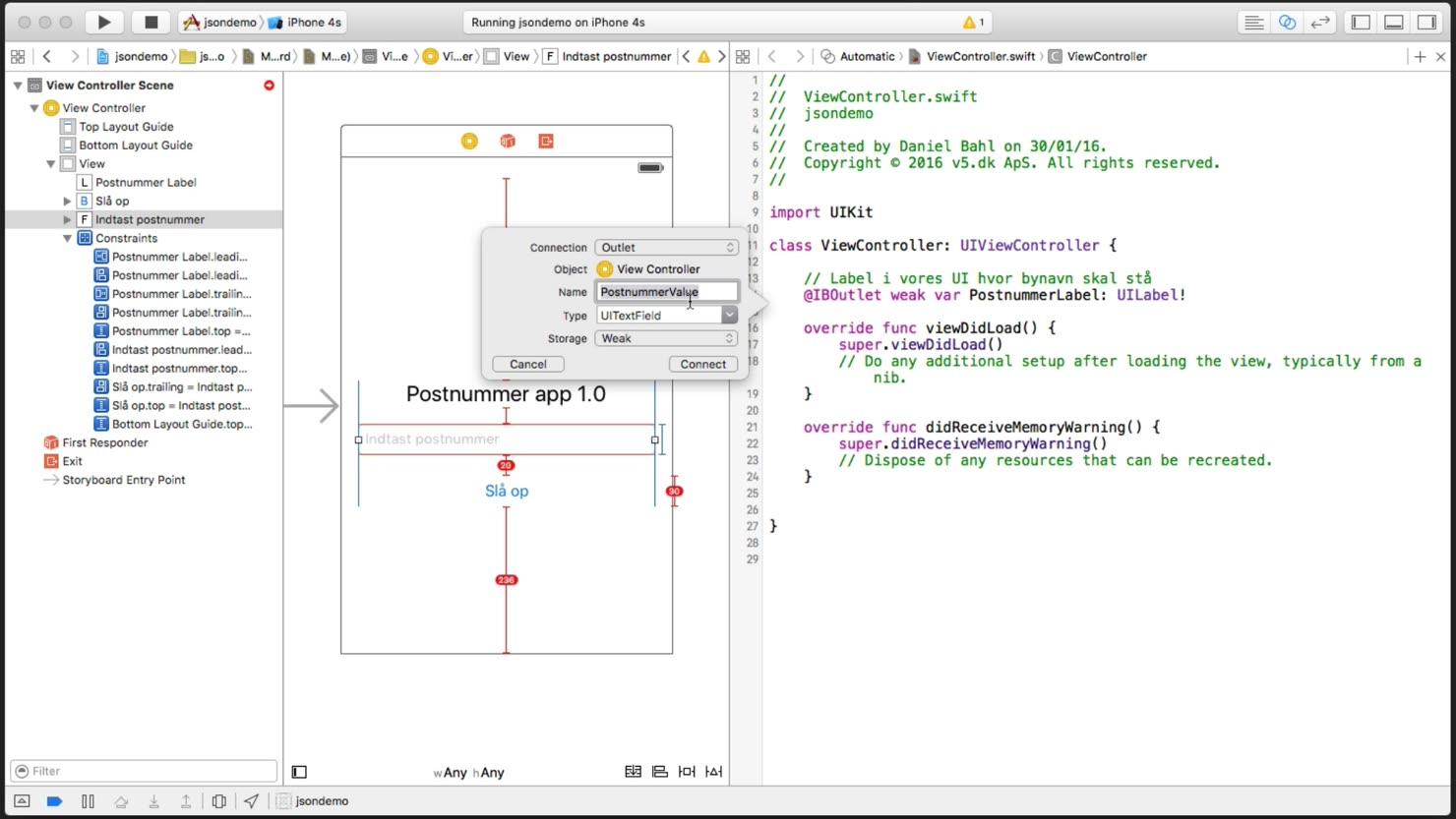 Forbind vores UI-elementer med Swift-koden