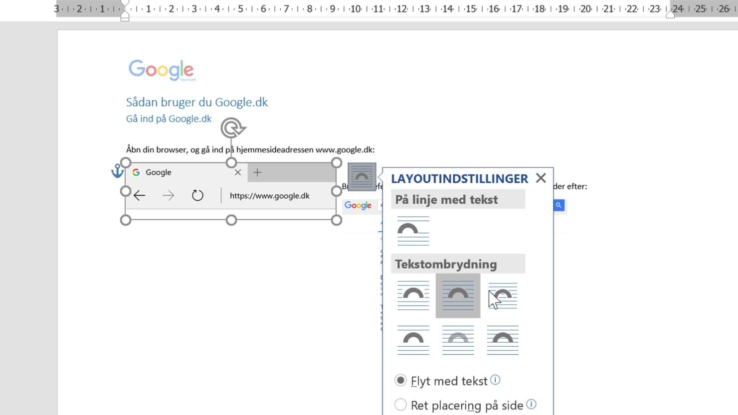 Skærmbilleder og Skærmklip med Word