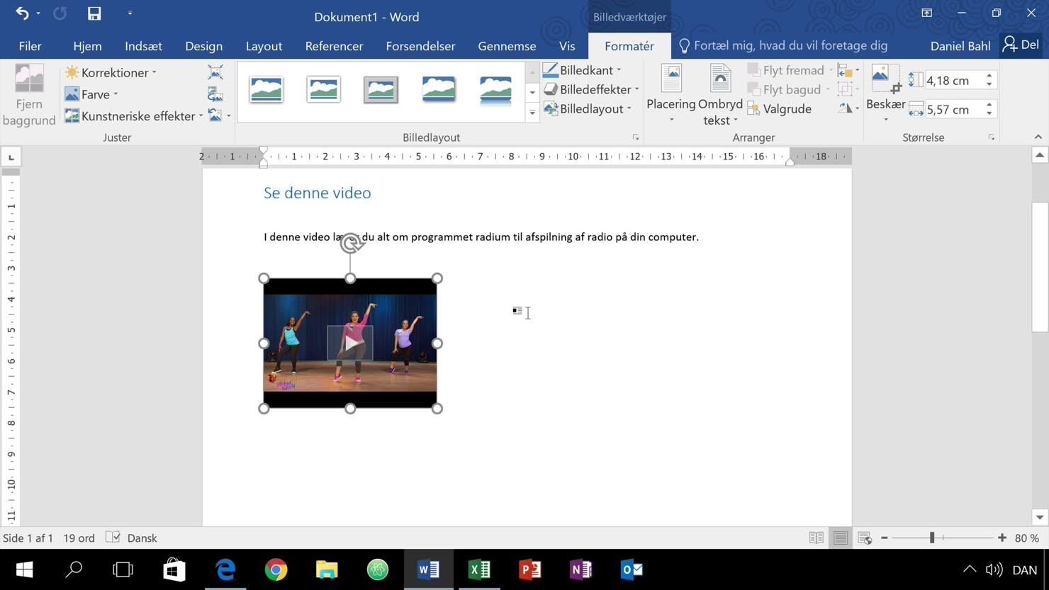 Multimedie i form af video i dit dokument