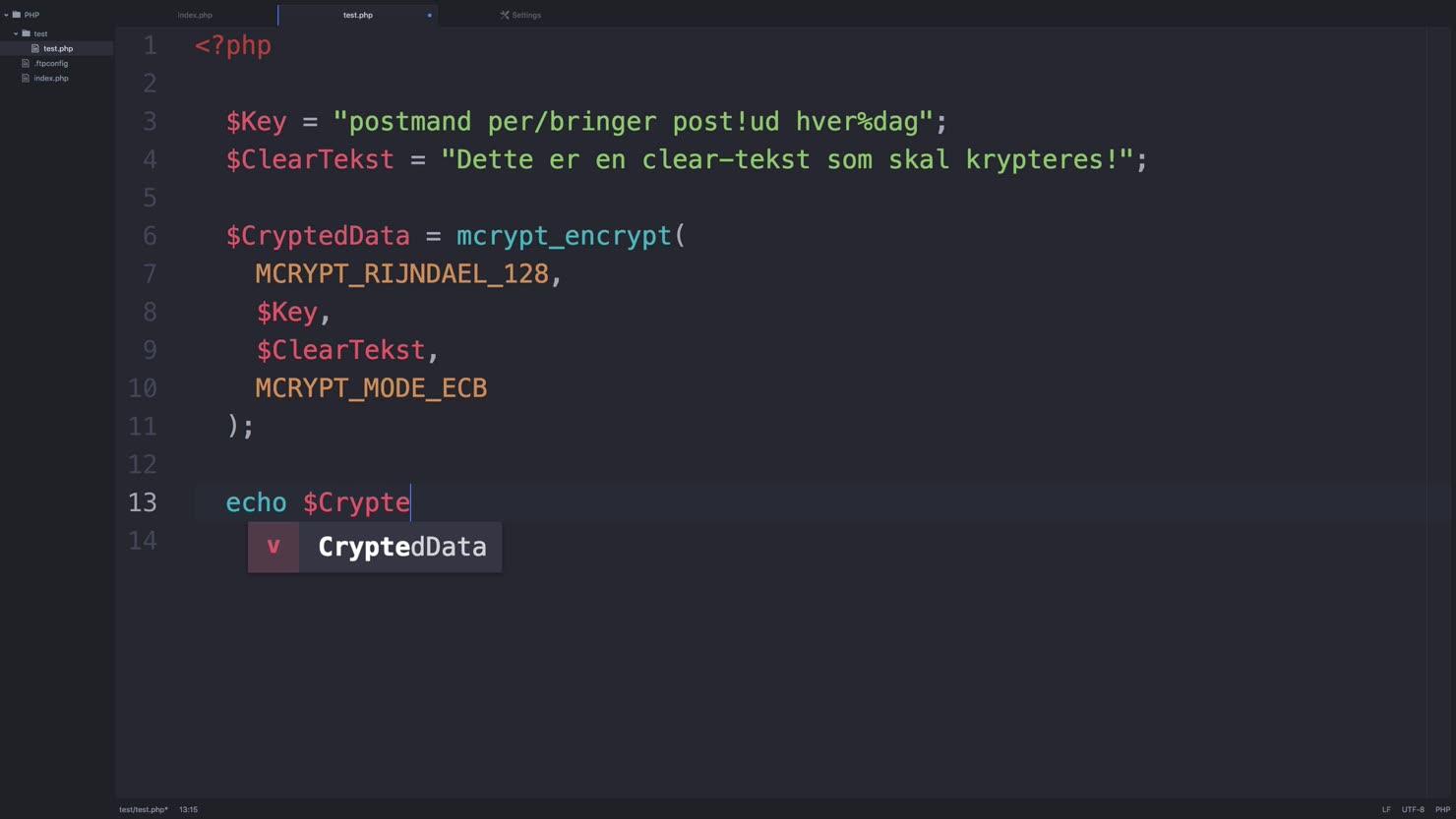 Kryptering af data i PHP