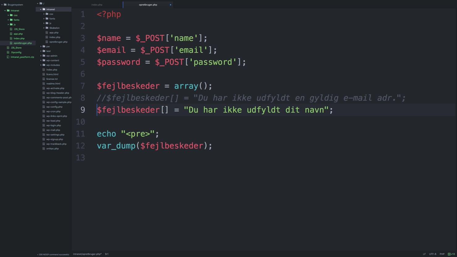 Opbygning af fejlhåndterings-system med et array i PHP