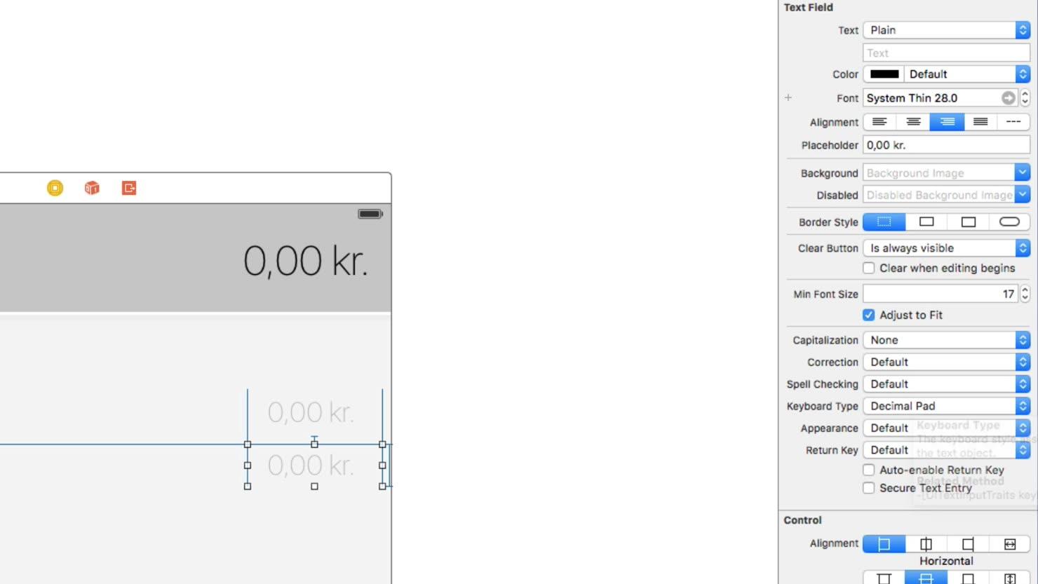 Byg flere elementer som bl.a. tekst-felter med constraints