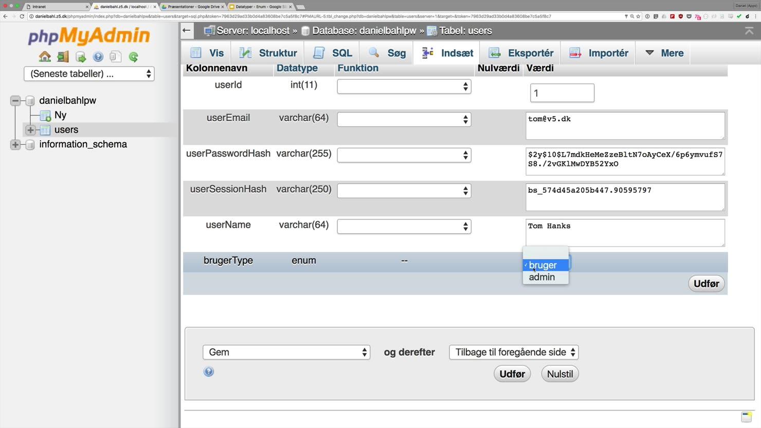 Sådan opbygger du et brugertype-felt i din MySQL-database med datatypen ENUM()