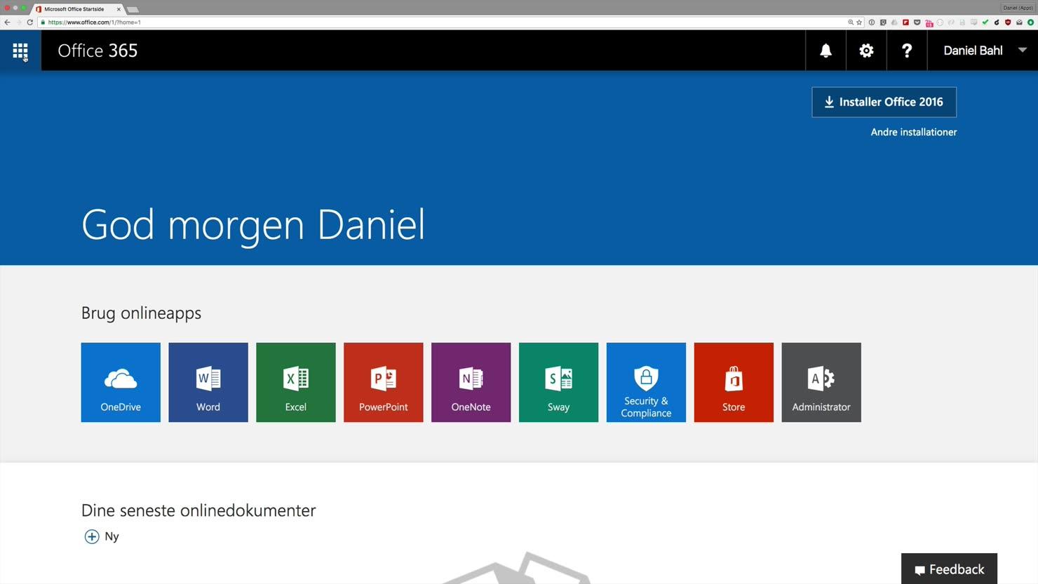 Dit første logon på Office 365