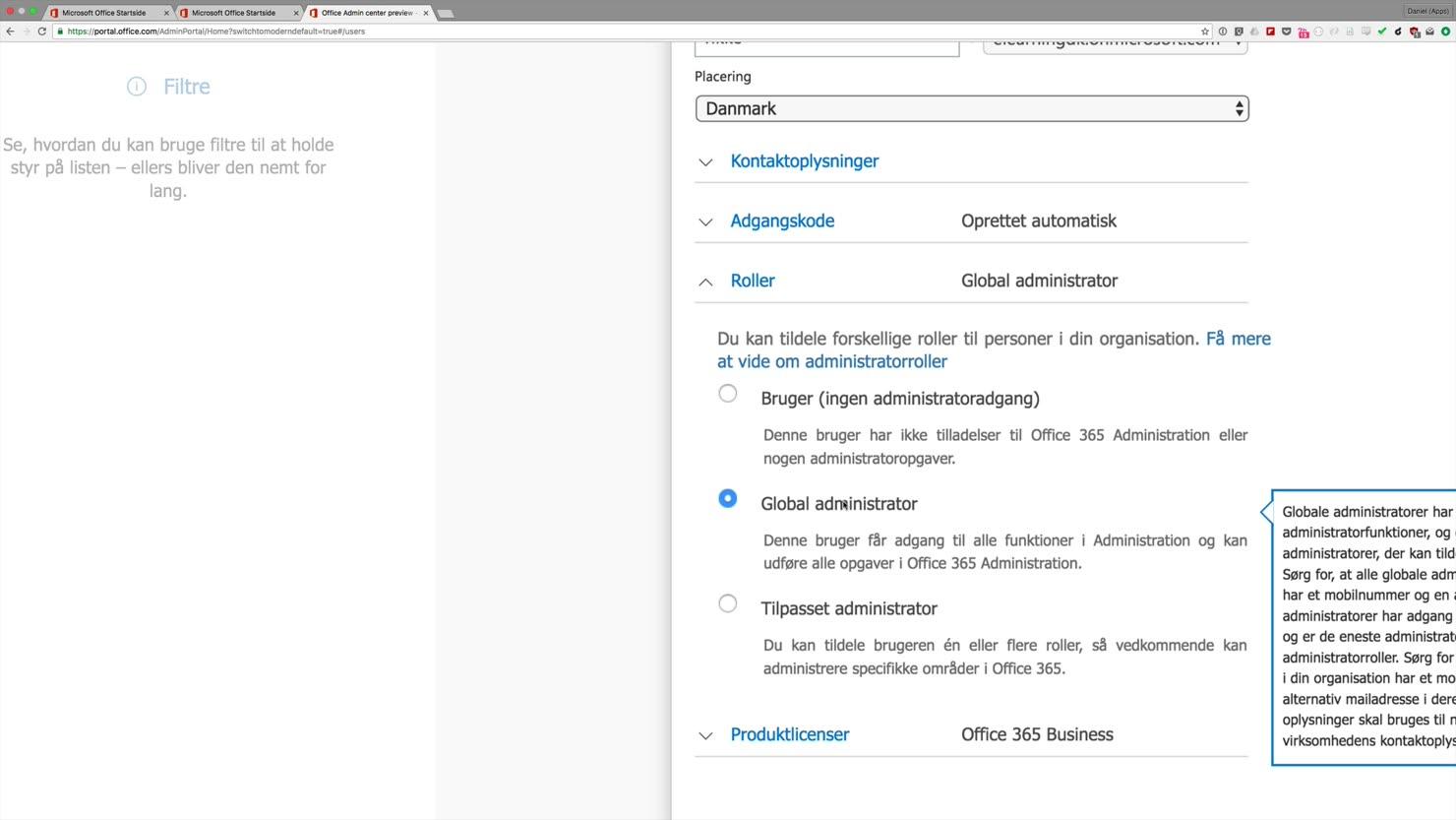 Opret nye brugere i din Office 365