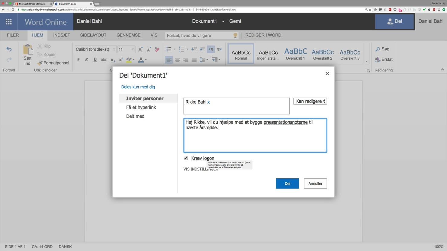 Deling af dokumenter med Office 365