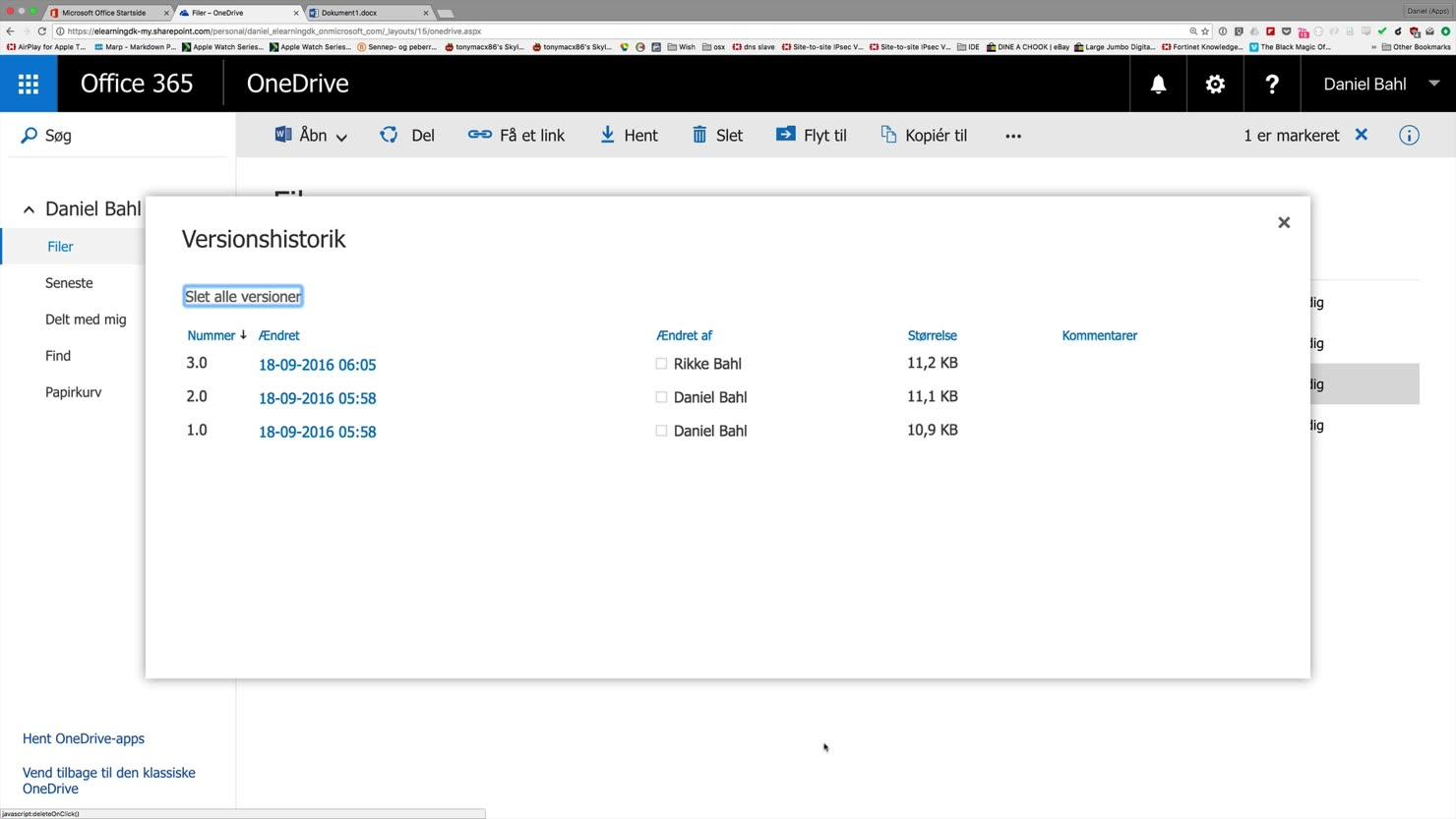 Versionsstyring af indhold med Office 365