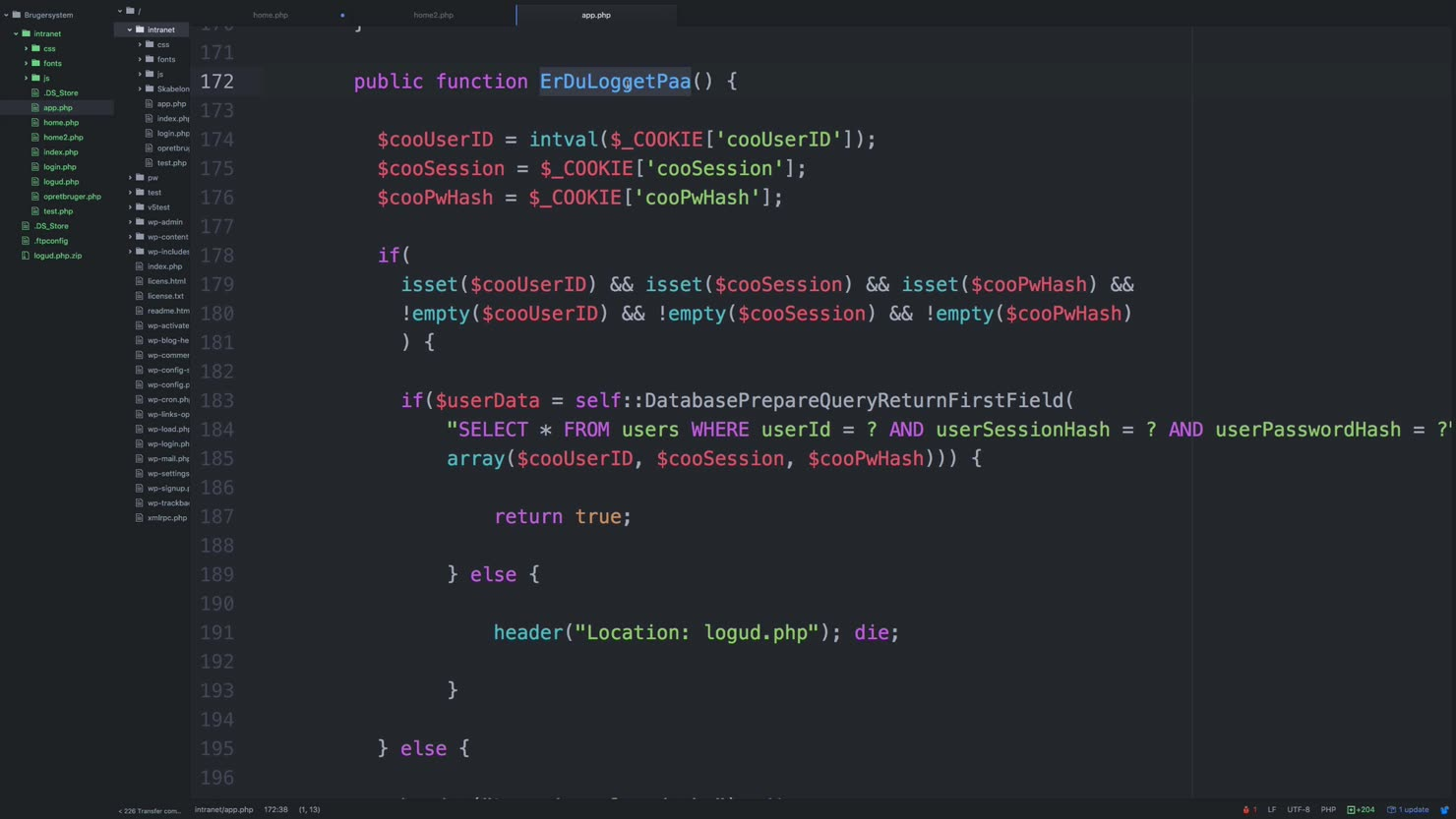 Konsolidere PHP-koden i vores klasse under app.php