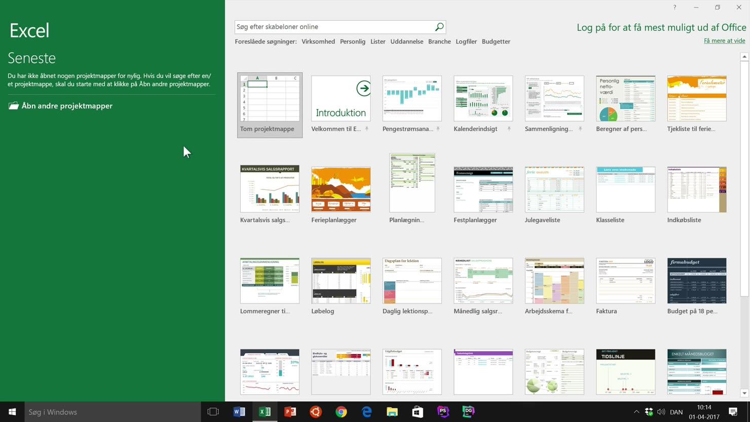 Klargør Microsoft Office Excel og start en projektmappe op