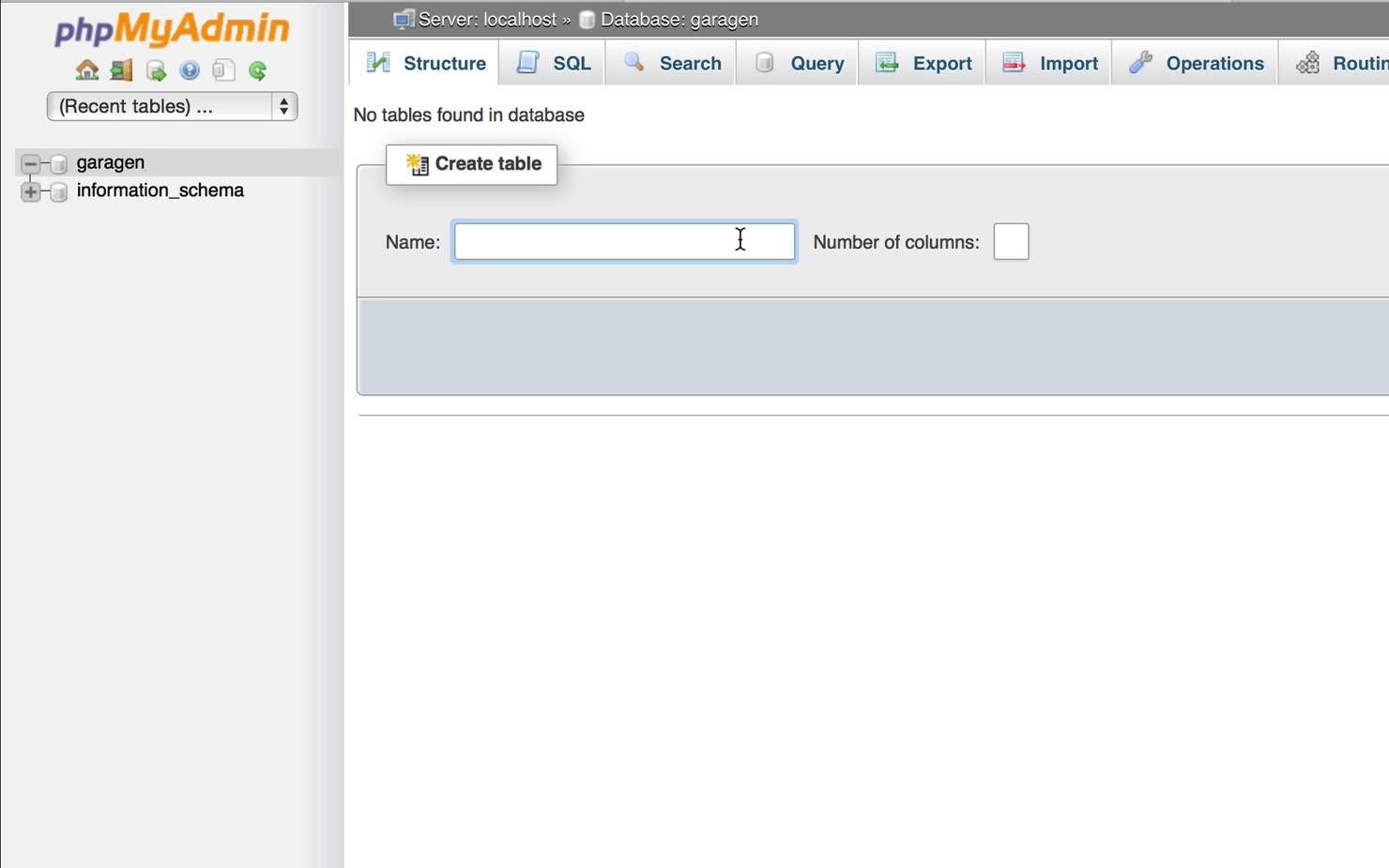 Opbygning af første tabel i vores MySQL-database