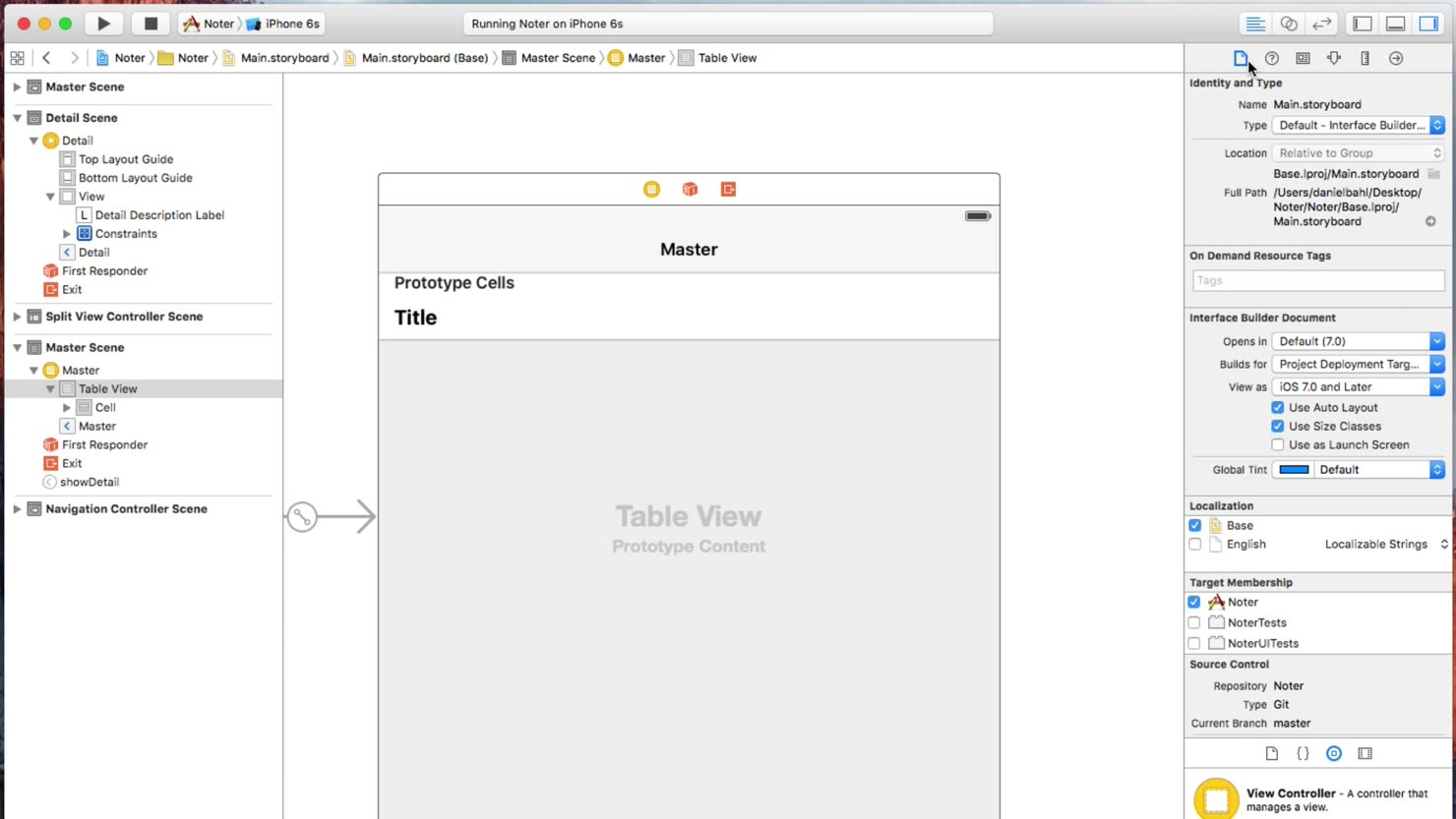 Masterview og Detailview - Opbygning af projekt og storyboard