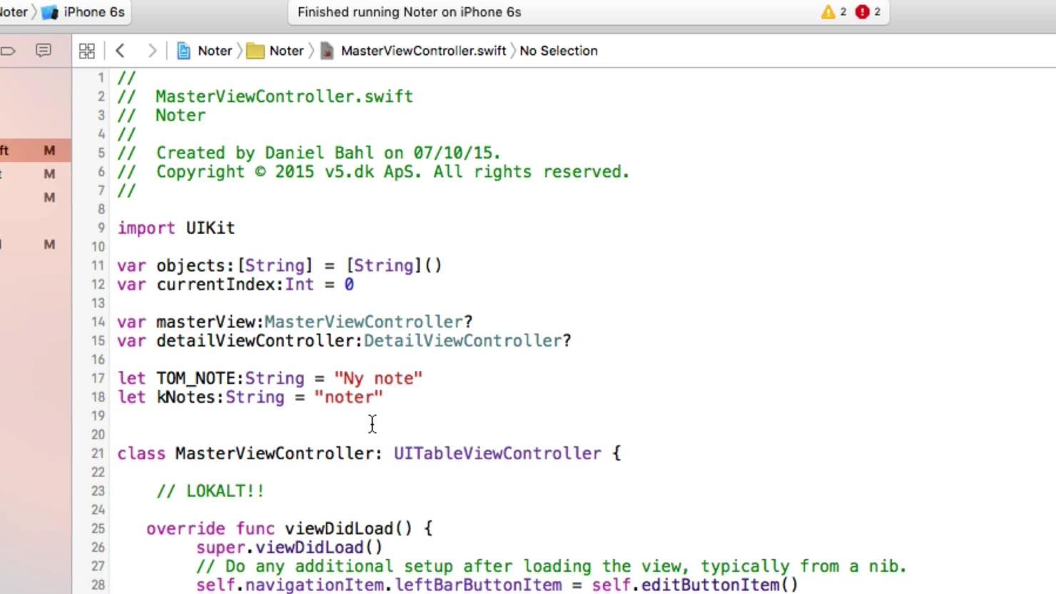 Variabler i vores Swift kode