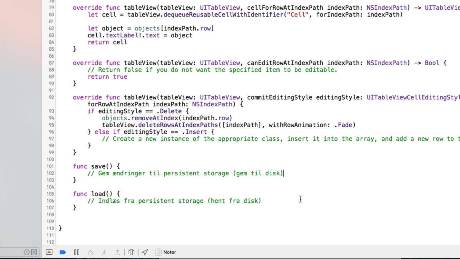 Vores første funktion i vores app - Sådan laver du funktioner i Swift