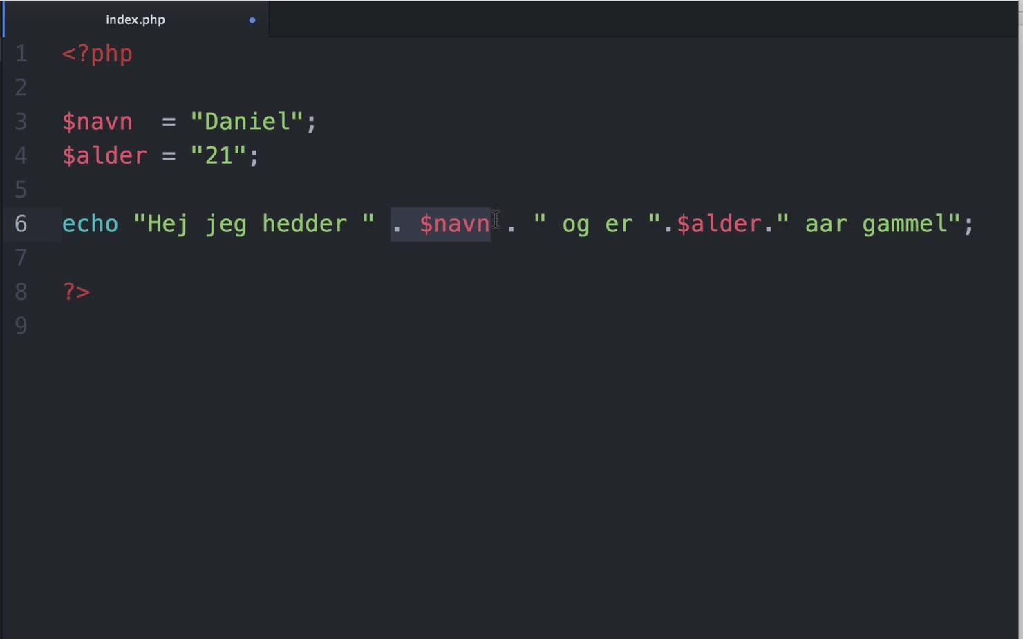 Variabler i PHP