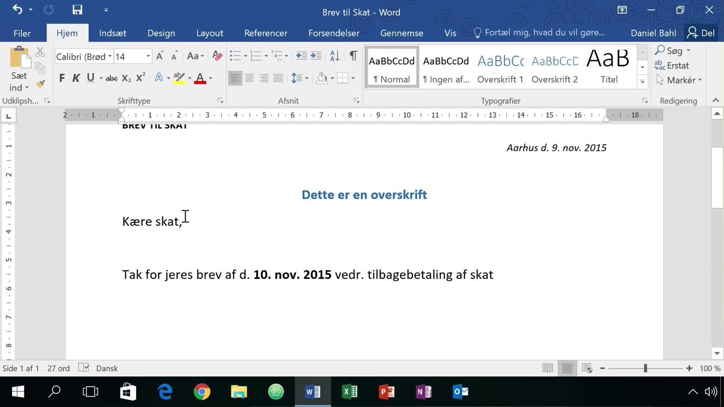 Grundlæggende formattering i Word 2016