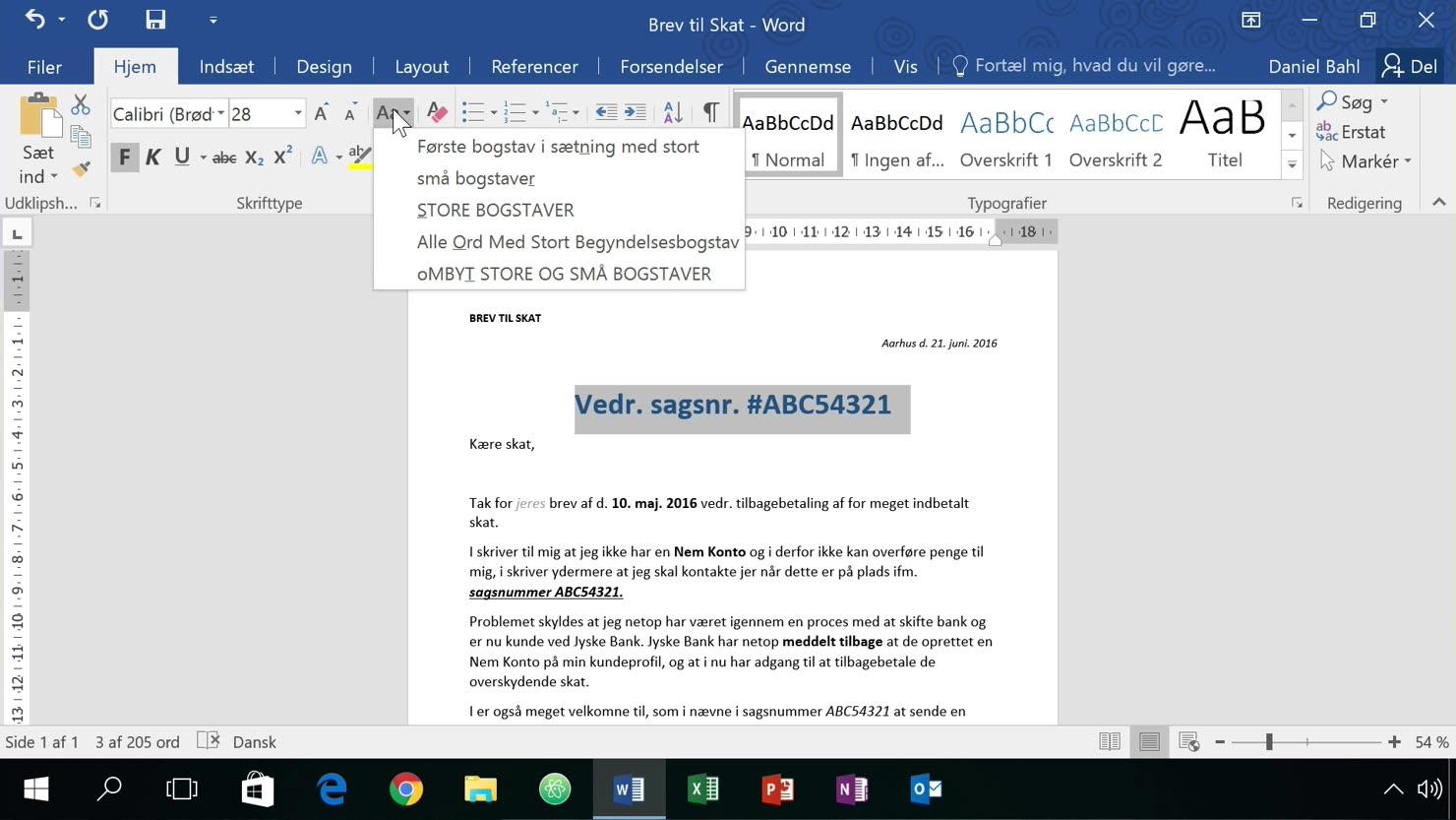 Teksteffekter og -stile i Word
