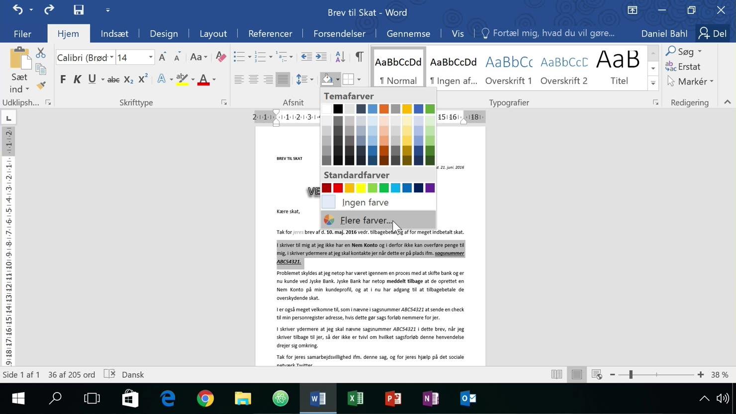 Kanter og skyggefarver/baggrundsfarver på et tekst-afsnit