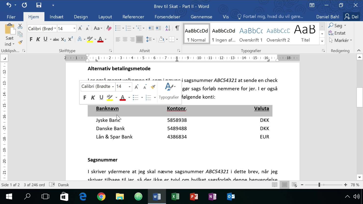 Tabulatorstops, TAB-tags og indrykning af tekst