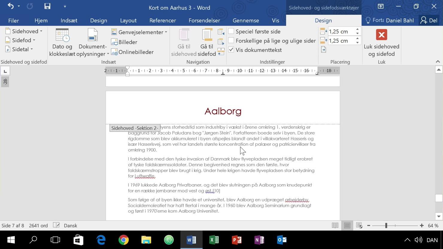Organiser et dokument med sektioner