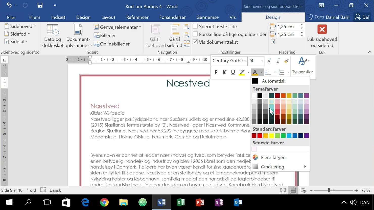 Design dit dokument med sidefarver, rammer, kanter og vandmærker