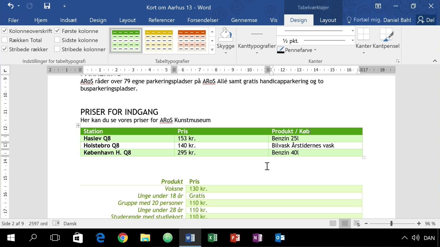 Byg tabeller udfra alm. tekst i Word