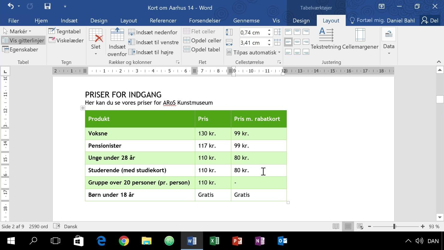 Yderligere formattering af tabeller