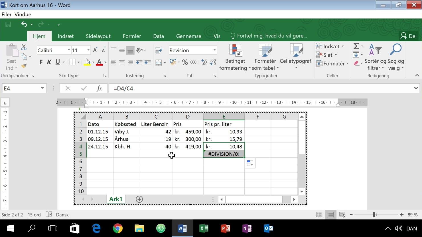 Brug Excel-tabeller i dit Word-dokument for udvidet funktionalitet