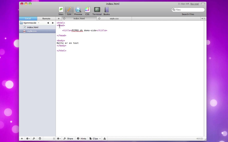 Vores første HTML og CSS-kode