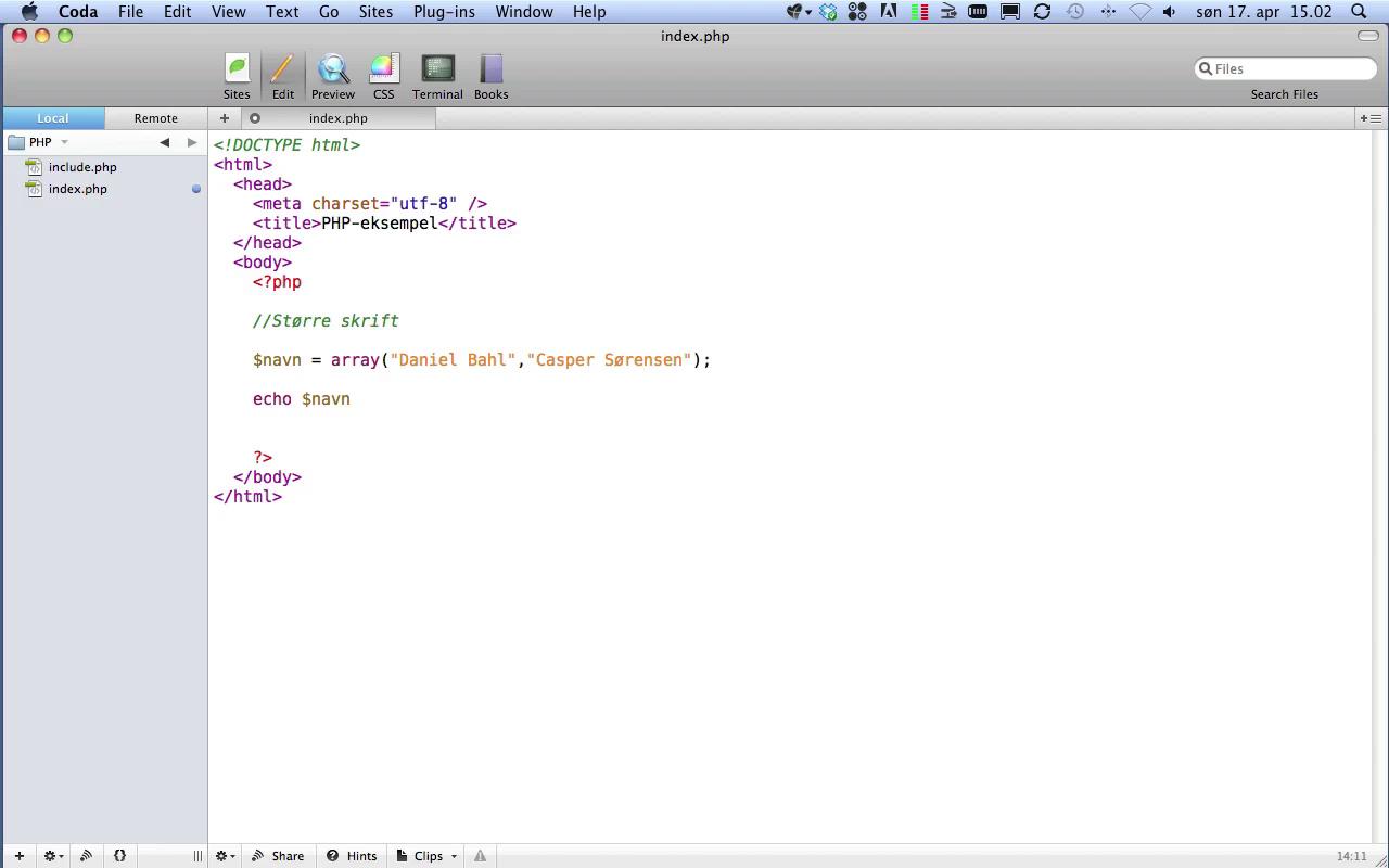 Live Screencast om PHP5 - Del 2 af 2